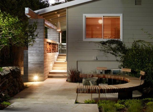Petit banc de jardin en bois, pierre ou métal- 52 idées tendance