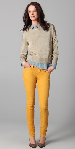 Current/Elliot marigold skinny corduroys with blue oxford shirt and tan sweater.  Love this style, fun preppy.