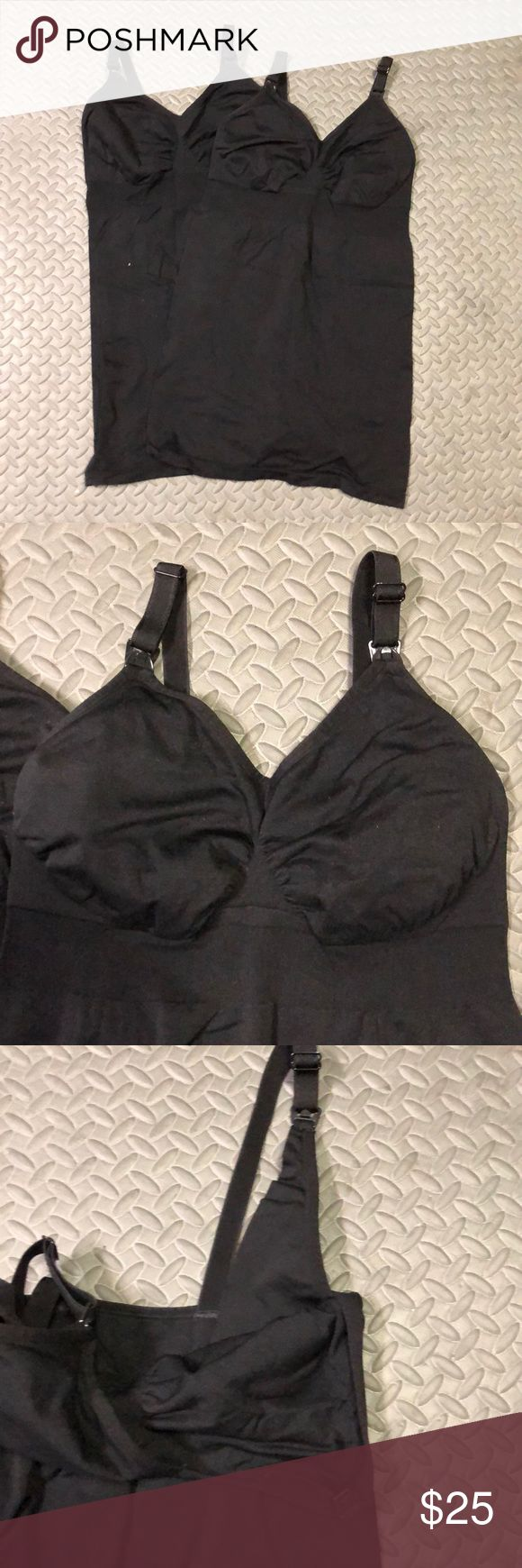 SET OF 2 BLACK POSTPARTUM NURSING TANK TOPS NO TAGS NOTED BUT I PURCHASED SIZE LARGE BEST BUY EVER... WORN THESE POSTPARTUM AND PEFECT FOR NURSING YOUR NEW BUNDLE OF JOY. Tops Camisoles