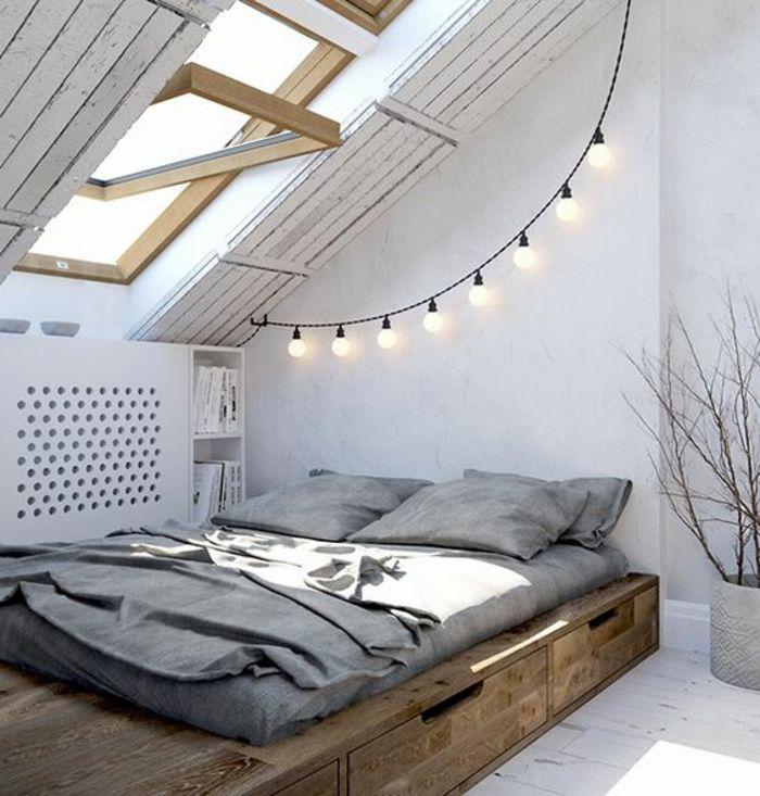 1001 Idees Deco De Chambre Sous Pente Cocoon Deco Chambre Mansardee Guirlande Lumineuse Chambre Deco Chambre Sous Pente