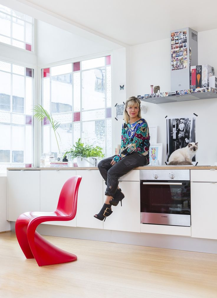 """Fashion blogger Ulrikke Lund in her hip home in Oslo, Norway - and with her beautiful ragdoll cat Ronja! """"My house first became a home when I got her. Every home needs a cat!"""" Styling Krista Elvheim  Photo by Nadia Norskott"""