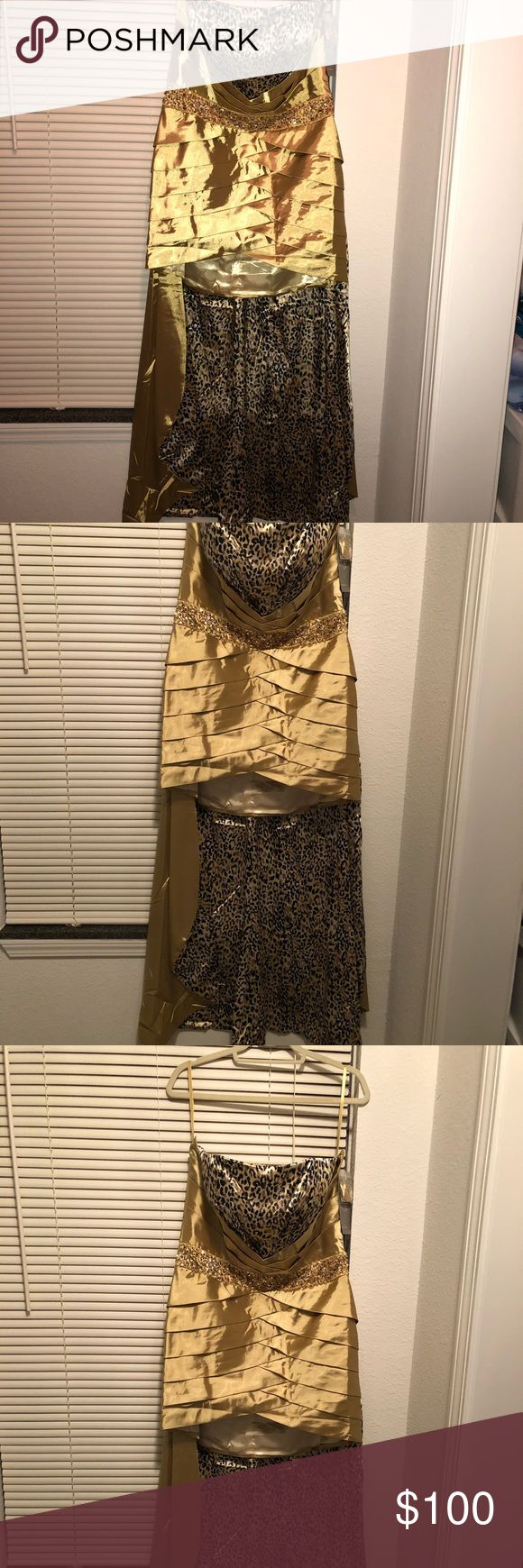 HiLow prom dress Greenish yellow leopard print hi low dress, just bought it last month for an event and ended up not using it, it is great for any big event and absolutely gorgeous 😊 sally usa Dresses High Low