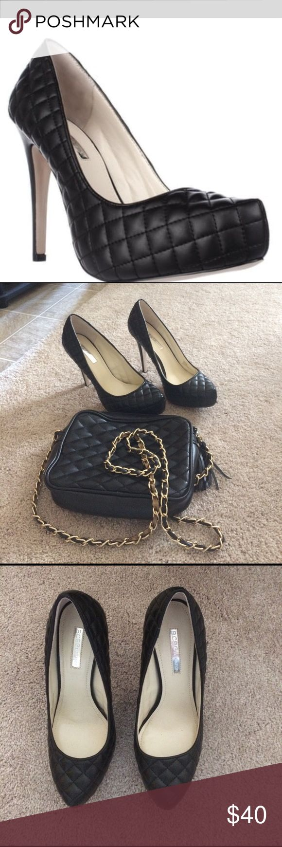 Shoes NWOT BCBG Generation Pixie Platform Quilted Faux Leather shoes.  Purse added as a bonus for free. 4 3/4 inches heel and 1 inch platform.  Size 8 but fits more like 7 1/2 BCBGeneration Shoes Heels