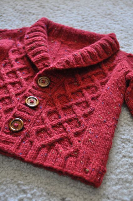 Lovely cable knit tweed cardigan for a little boy