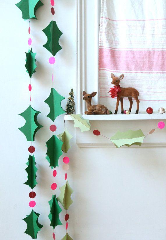 Urlaub Weihnachten Holly Garland dunkelgrün mit von chiarabelle