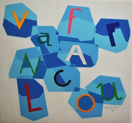 VAFFANCULO (FUCK OFF) Size: 34,5x37,5 cm or  69,5X75 cm Technique: Silk screen, collage