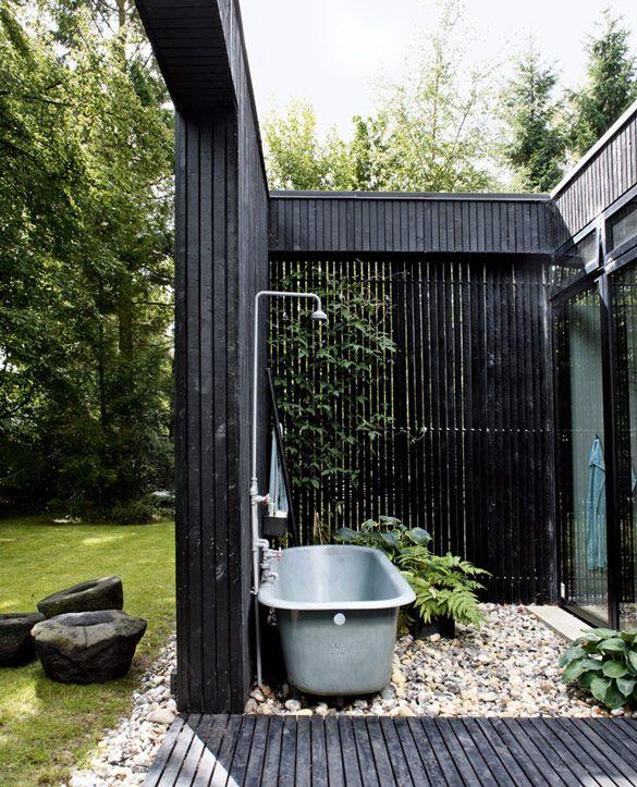 outdoor bath + painted black wood slats : danish summer home