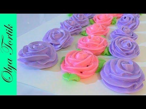 (109) РОЗЫ из безе мастер класс  Как сделать розу БЕЗЕ МК /// Olya Tortik Домашний Кондитер - YouTube