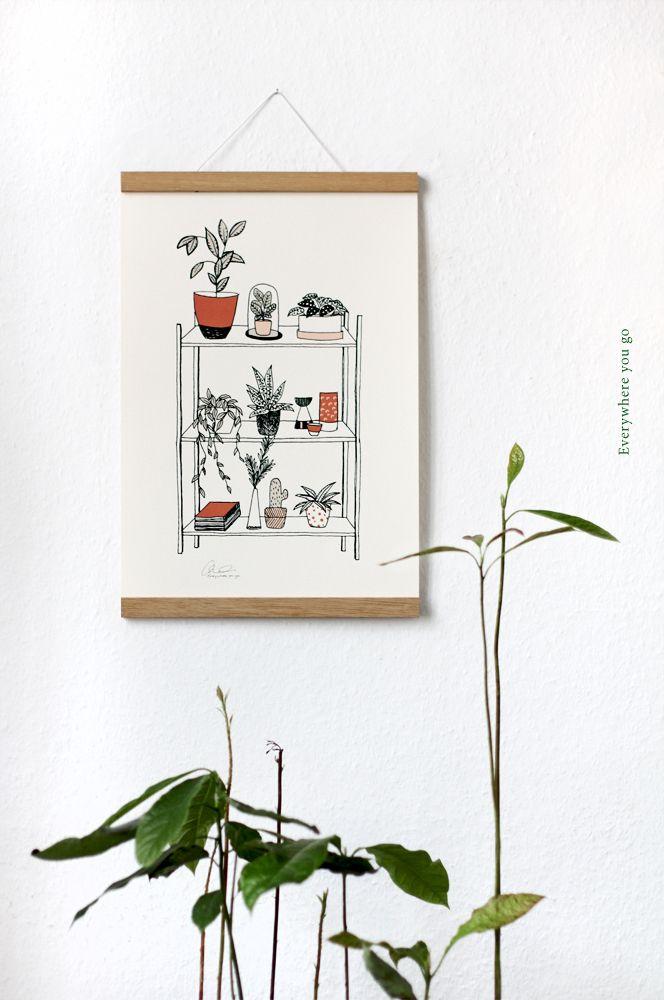 Botanical illustration, handdrawn and printed on high quality 300g paper.  #botanical #poster #print #plants #decoration #greenliving #botanicalliving #cactus #stationary #illustration #larabispinck #everywhereyougo #larabispinckillustration #shelf #home #living #green #dawanda