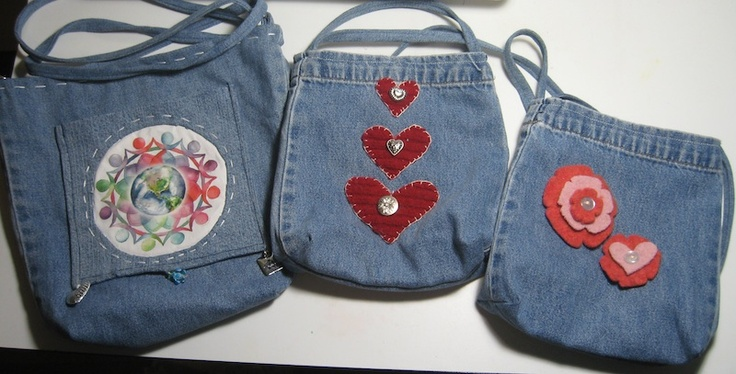 Purses made from recycled jeans and felted wool sweaters!