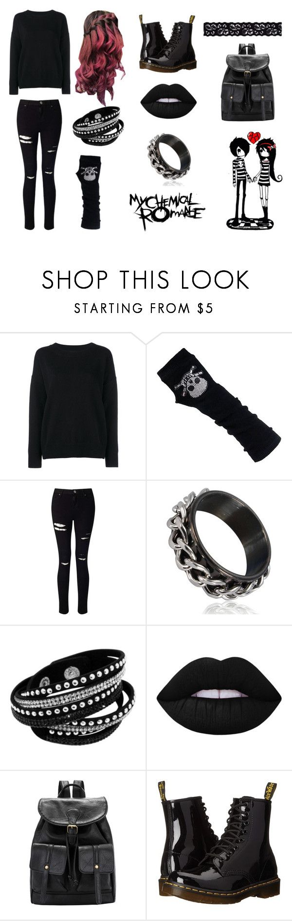 """EMO"" by bellaruu ❤ liked on Polyvore featuring Frame Denim, Miss Selfridge, Lime Crime, Dr. Martens and Akira"