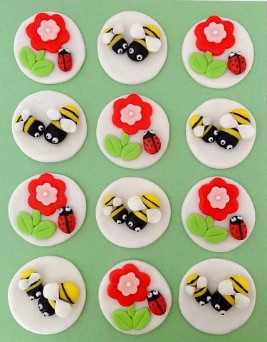 12 Fondant Edible Cupcake/Cookie Toppers by TopCakeDecors on Etsy, $23.95