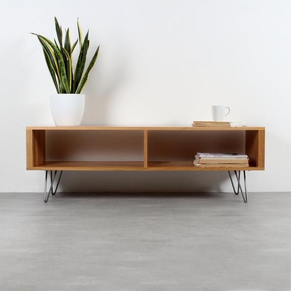 Large Tv Stand Dvd Storage Or Coffee Table On Mid Century Hairpin