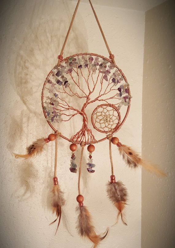 Tree Of Life Dream Catcher Hanging With Multi Fluorite