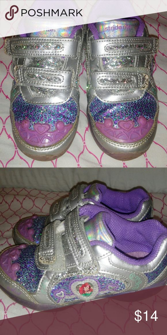 Stride Rite Lil Mermaid Sneakers 10W Light up Little Mermaid STRIDE RITE SNEAKERS that light up. Size 10W. Will fit a size 10.5 regular width just fine.  Excellent pre-owned condition. Stride Rite Shoes Sneakers