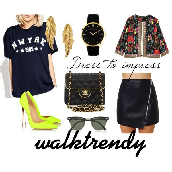 dress to impress by maia-ratiu on Polyvore featuring Christian Louboutin, What Goes Around Comes Around, Larsson & Jennings, LeiVanKash, Ray-Ban and walktrendy