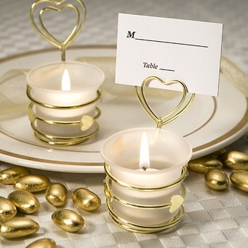 Gold Heart Design Candle with Place Card Holder Wedding Party Favors! Visit specialoccasionsforless.com for beautiful accessories - for less!