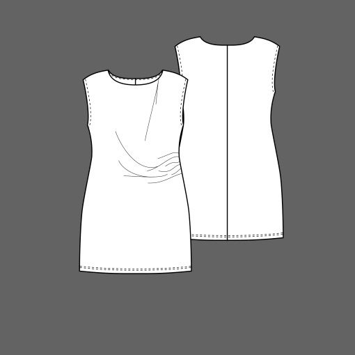 Kjole med drapering str. 34 - STOFF & STIL