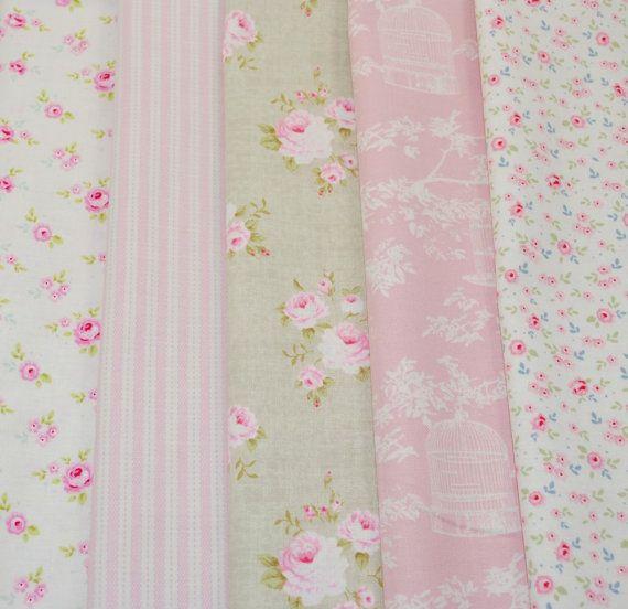 Tilda Fabric Fat Quarter Bundle  SOFT GREEN & PINK  by LovetoSewUK, $27.50
