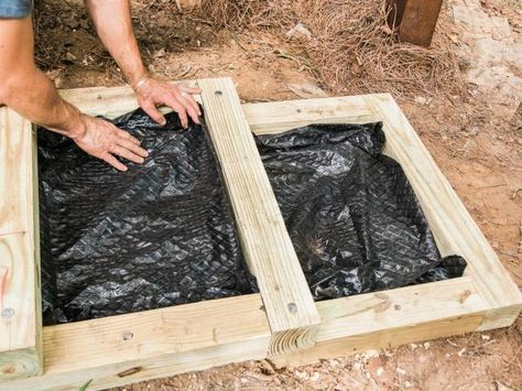 Use pea gravel and wood posts to build steps in your yard.