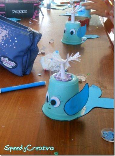 What a cute idea! Make this whale from cups