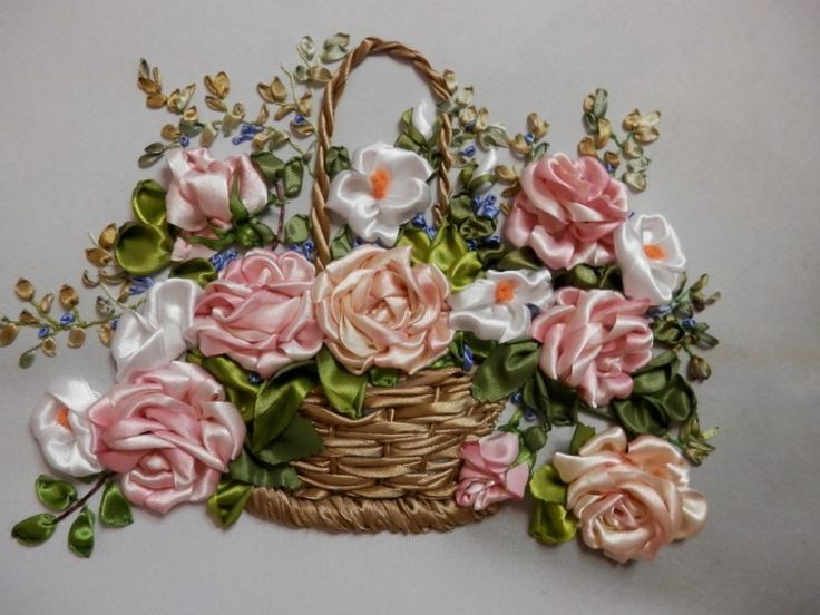 Roses in a basket ribbonembroidery Корзины Вазы Ленты