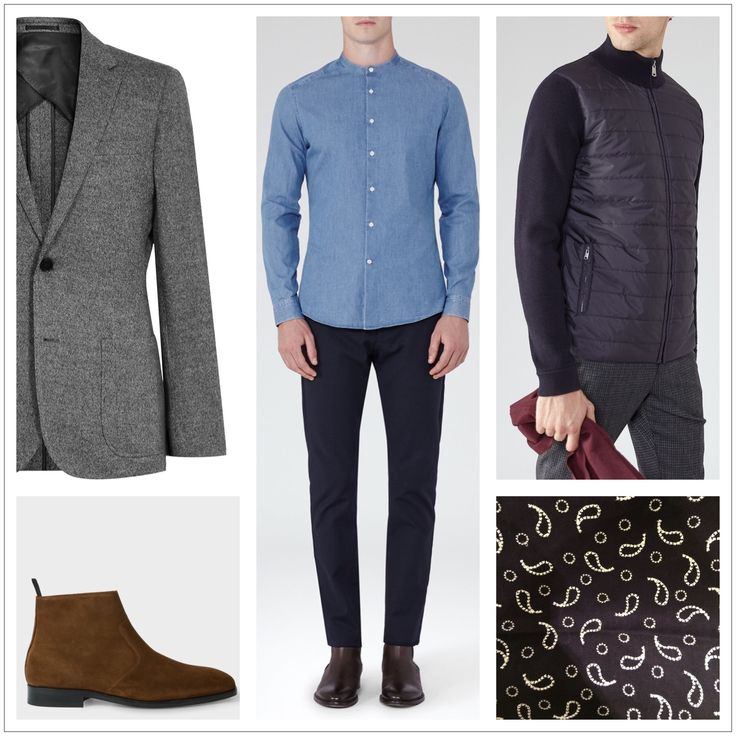 Client brief: Updating wardrobe for the winter months focusing on 'casual friday' workwear outfits, evening occasion outfits and casual off duty looks. Blazer, shirt, quilted cardigan: Reiss Boots & scarf: Paul Smith