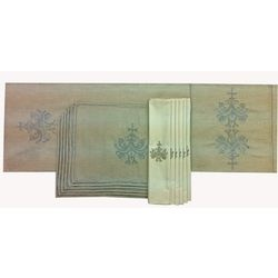 """Bling up your Dining Table with our Ultra-Luxurious Table Linen made in exquisite fabrics with mesmerizing designs.    Evington Table Linen Set - Complete 6 Seater Table Linen Set comprising of a 72""""x14"""" Table Runner, 6 Tablemats in 12""""x18"""" size and 6 Napkins in 16""""x16"""" size in Pure Linen & Rich Cotton Sateen with Ecru & Silver Metallic Embroidery  Visit: http://www.ultra-snob.com/bling-up-your-table/evington-table-linen-set/p-2866466-37836055977-cat.html#variant_id=2866466-37836055977"""