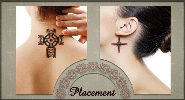 placement cross neck tattoos for women