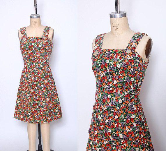Vintage 70s CORDUROY Dress DITZY Floral Jumper Floral Mini