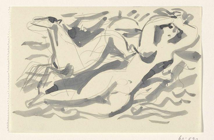 Leo Gestel | Ontwerp voor een vignet: naakte vrouw en paard met op de achtergrond de zee, Leo Gestel, 1891 - 1941 | Ontwerp voor een prent.