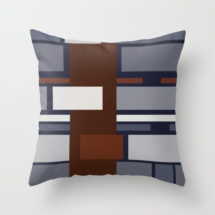 Rust Rectangle Shapes III Throw Pillow