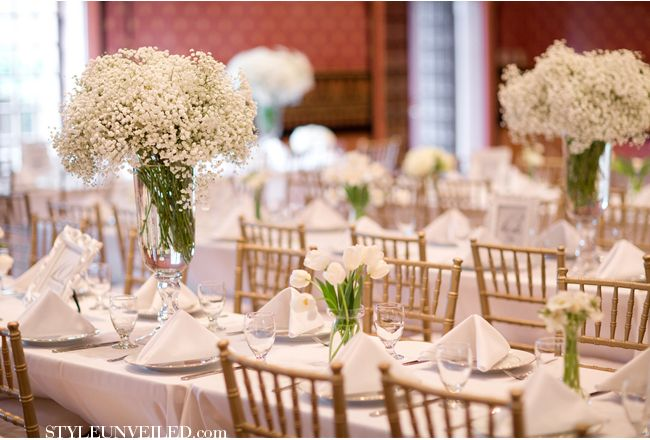 Soft Pink and White Wedding Details Using Baby's Breath - Look at these incredible tablesettings!