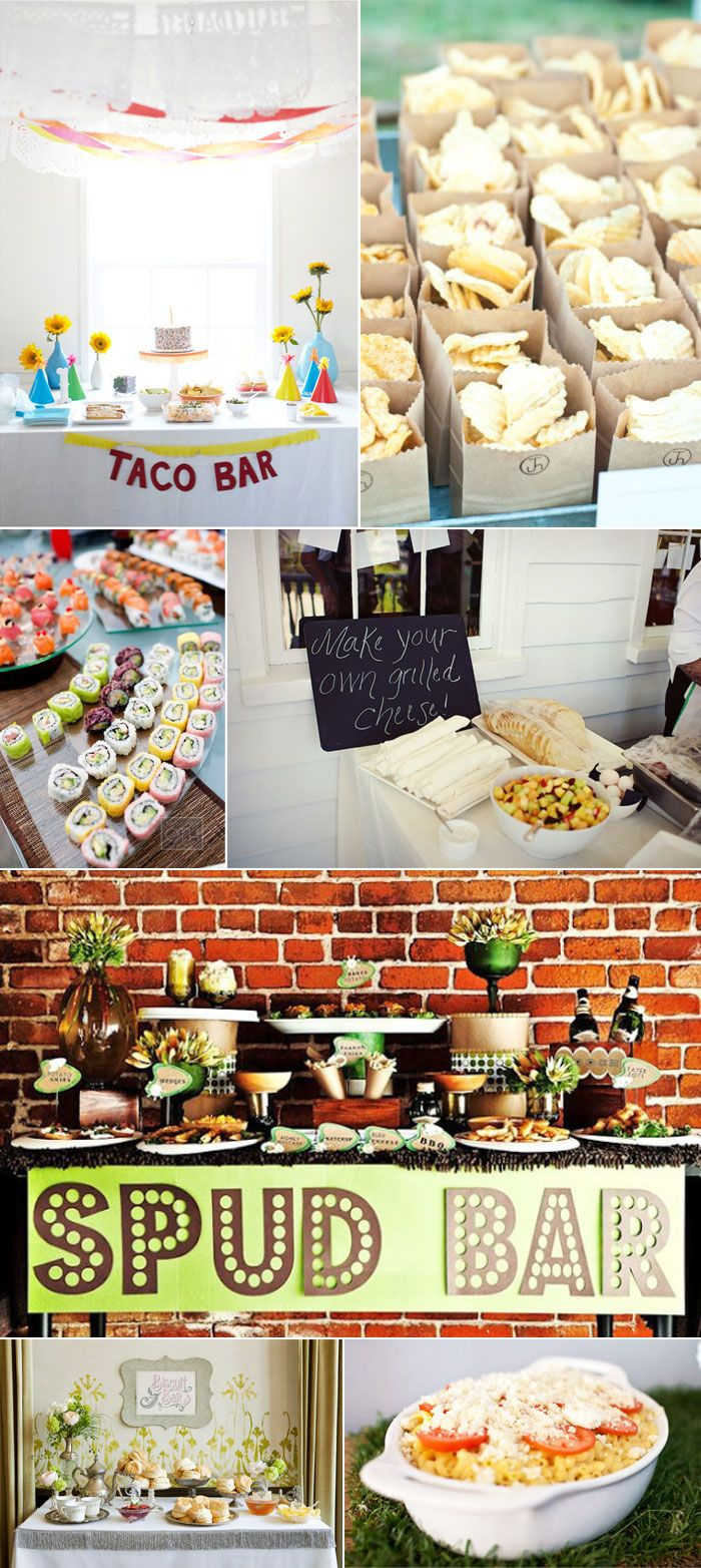 Wedding food station and dessert bar ideas menus for Food bar party ideas