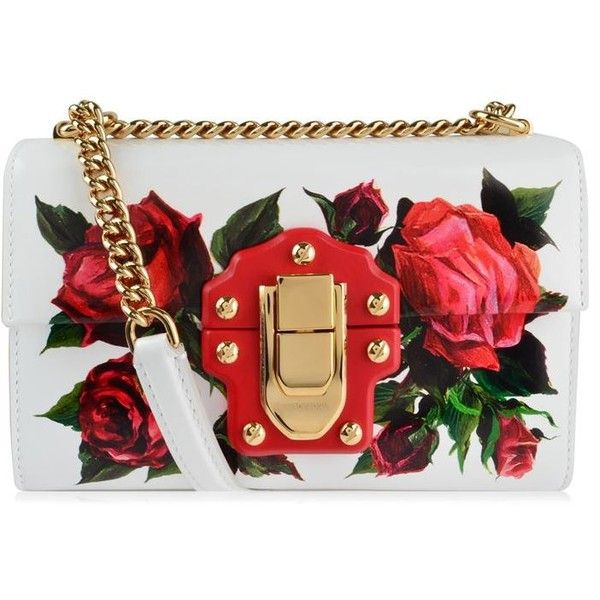 Dolce And Gabbana Lucia Rose Shoulder Chain Bag (2,570 CAD) ❤ liked on Polyvore featuring bags, handbags, shoulder bags, white, genuine leather handbags, real leather purses, white shoulder bag, white handbags and chain purse