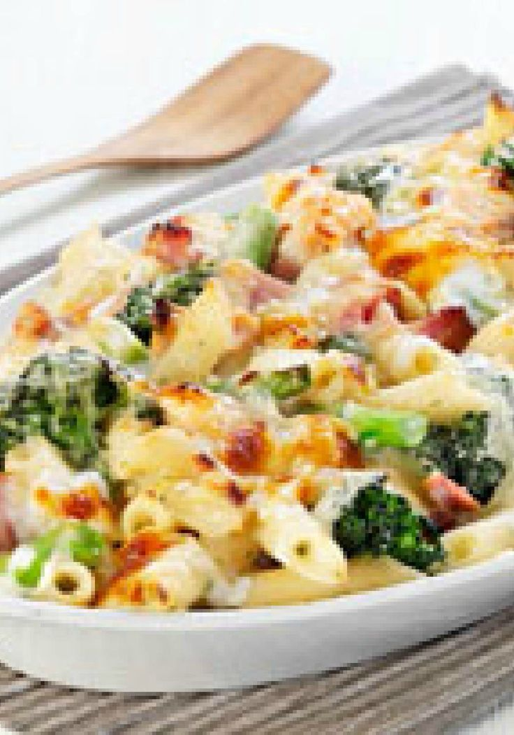 Cheesy Ham & Broccoli Pasta Bake – Broccoli and ham are at it again—tasting delicious in a pasta bake made with a blend of three cheeses. We predict it will become a new family favorite recipe.