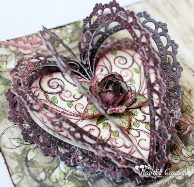 3 D Heart in an ornament or card with Timeless Amour CUn by Heartfelt Creations