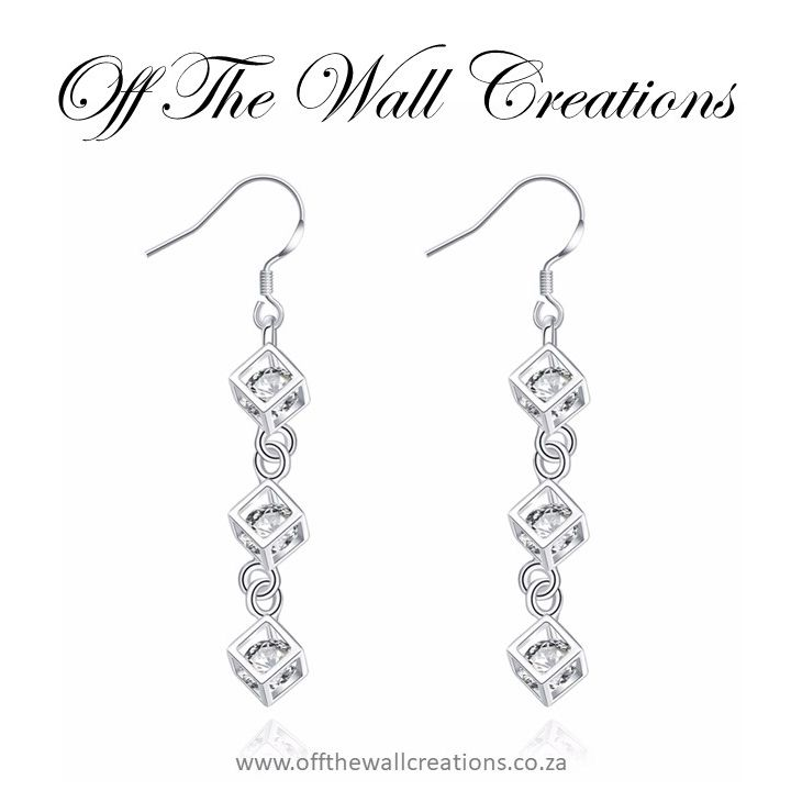 Square Cubic Zirconia Crystal Drop Earrings Price: R 210 On line orders: https://www.offthewallcreations.co.za/collections/hook-earrings/products/square-cubic-zirconia-crystal-drop-earrings Deliver 1-2 working days