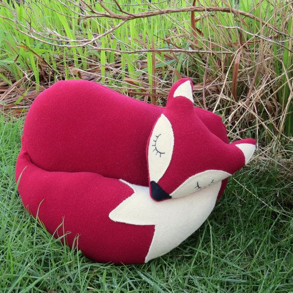 Red fox. A snoozy fox cushion.  Fox pillow.  by TheSherbetPatch