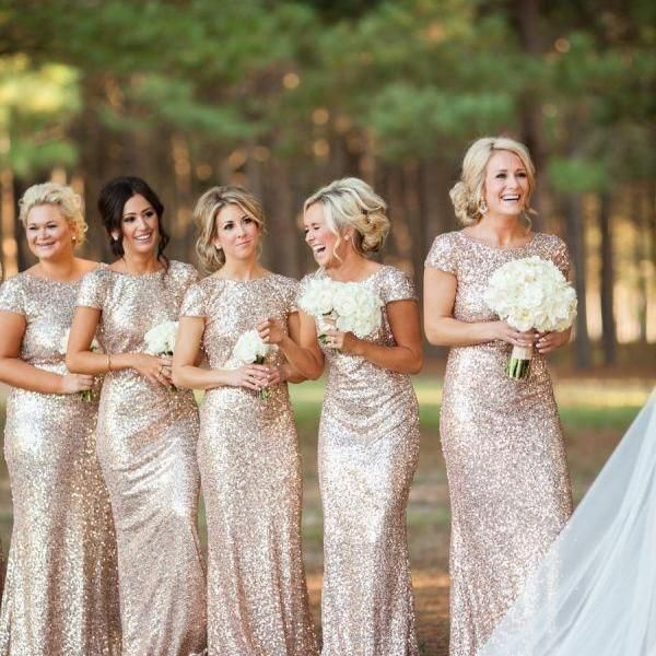 Short Sleeves Gold Sequined Mermaid Glittery Bridesmaid Dress,Shiny Sexy Long Bridesmaid Dresses,High Neck Sheath Wedding Dress,Bridal Wedding Gown,Sequin Prom Dress