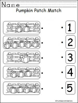 Practice numbers and counting 1-5 with this free pumpkin worksheet.  Good fall and harvest printable for preschool and Kindergarten.