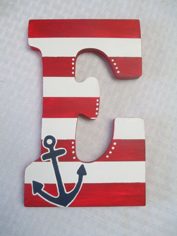 Nautical Wooden Initial with Anchor Detail by ArtisticMuseAlley, $15.00