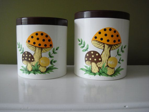 Vintage Canisters  Mushroom Canisters  Sears 1978  Made in