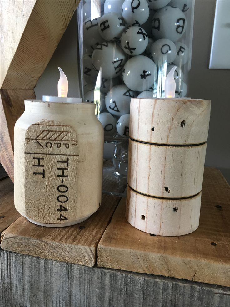 Candle holders made by turning heat treated pallet blocks on a lathe. Heat treated pallets are Safe and not treated with harsh chemicals. Nails were driven deeper to avoid a catch but should probably just try to remove them if possible.
