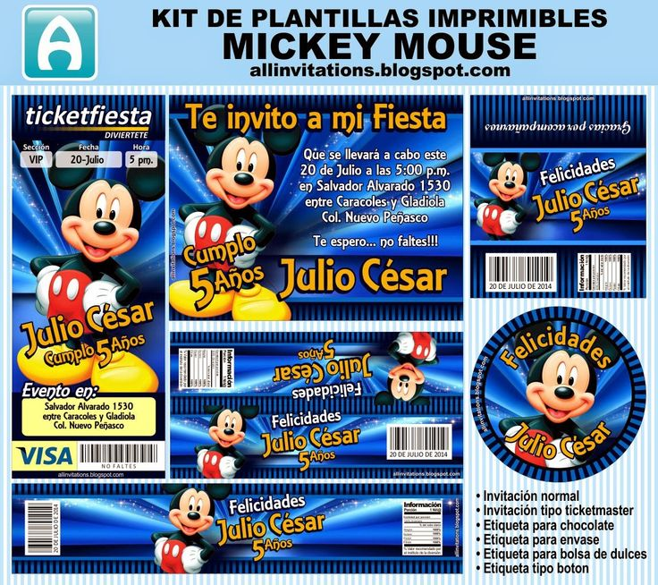Kit imprimible de plantillas con el tema de Mickey Mouse
