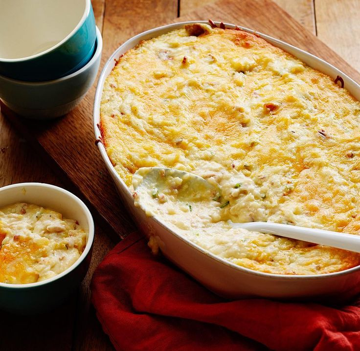 Recipe of the Day: Ree's Twice Baked Potato Casserole Ree reimagines twice-baked potatoes in all their cheesy, bacon-loaded goodness as a comforting casserole you can pile onto your plate. [Recipe link in bio]