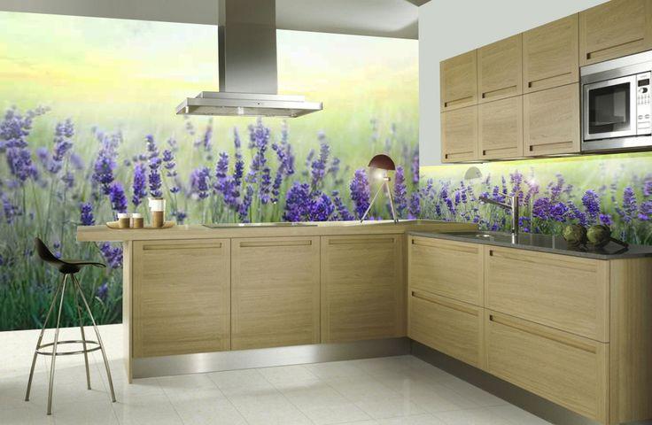 Panele do kuchni - szkło dekoracyjne z motywem lawendy