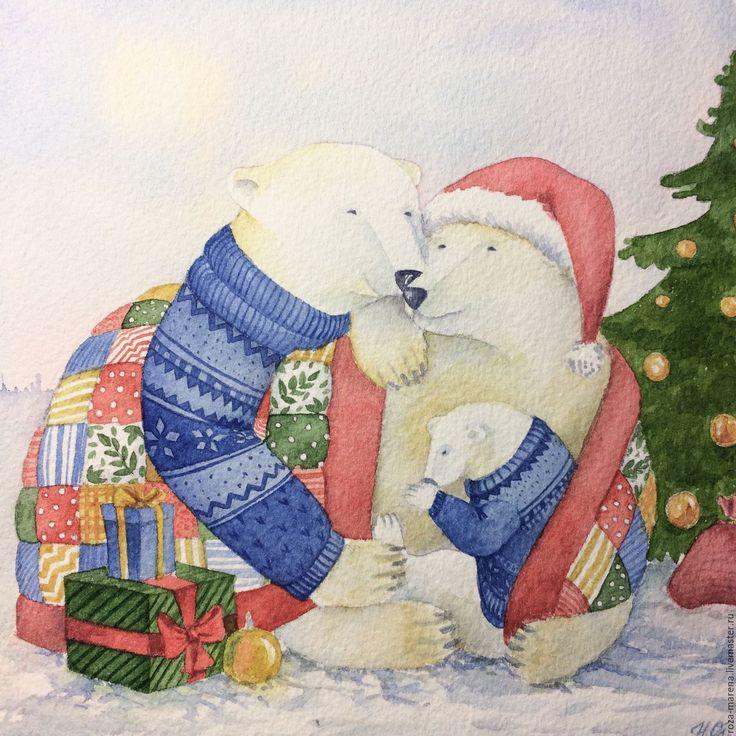 Новый год акварель открытка