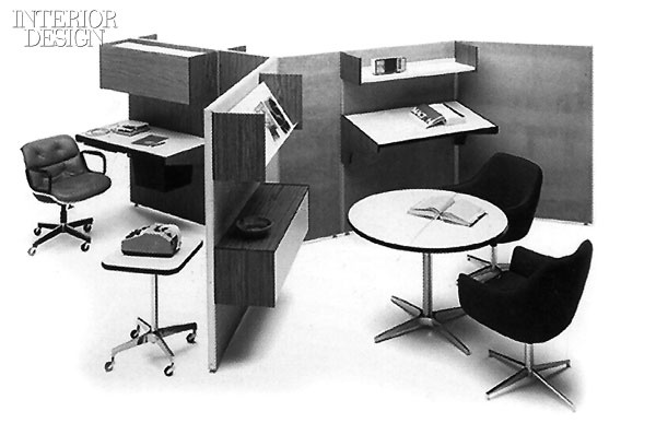 The sketch came in handy in the early 1970's for Modern Office Modules, Haworth's first soup-to-nuts system, not to mention a 1976 invention, the pre-wired modular panel.  via Interior Design