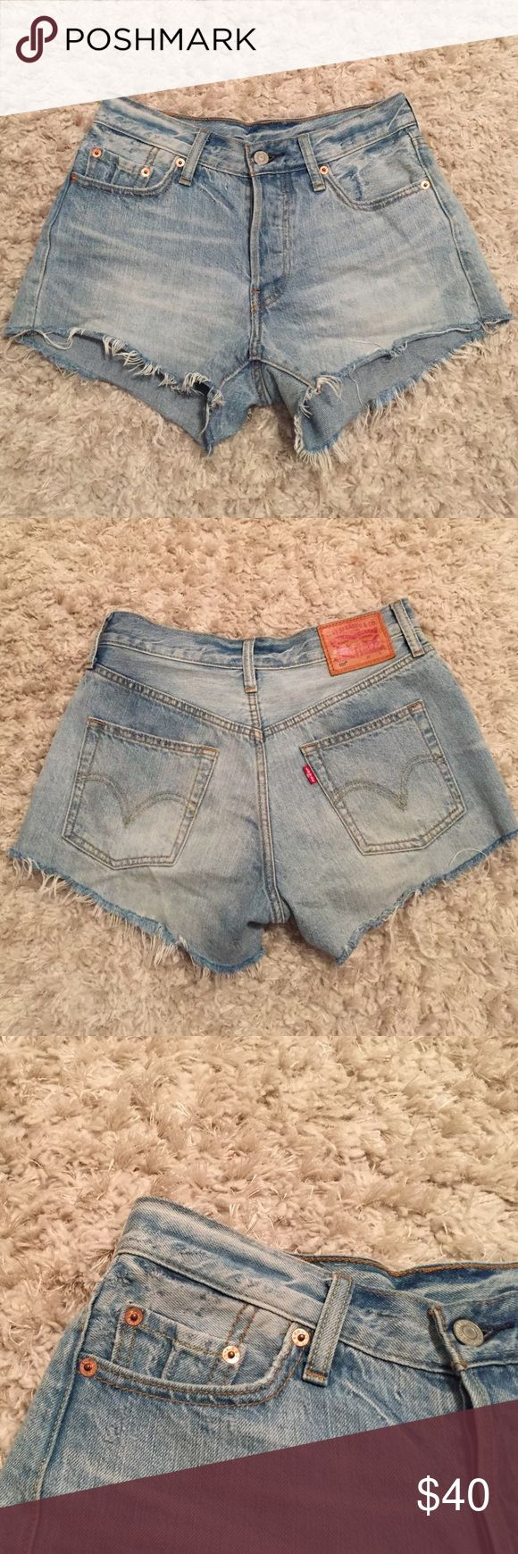 LEVI'S high-rise denim shorts. GREAT condition. They're to small so they must go. No zip, instead 4 buttons. Distressed features. Offers welcomed! Levi's Shorts Jean Shorts